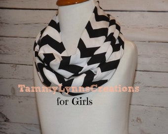 Girls Black and White Chevron Infinity Scarf Jersey Knit Scarf Girl's Accessories