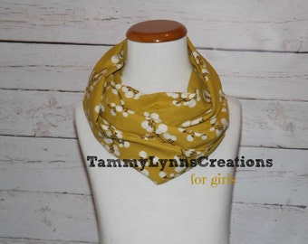 GIRLS Mustard with Burnt Umber Cotton Blossoms Infinity Scarf Cotton Infinity Girl's Accessories