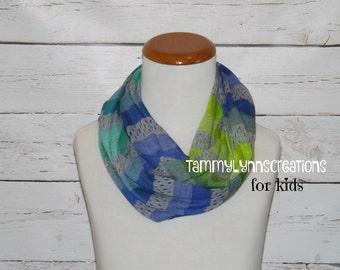 NEW!! Kids Multi Stripe Greens, Blues, Dk Heather Gray Sweater Knit Stripe Infinity Scarf Kid's Accessories