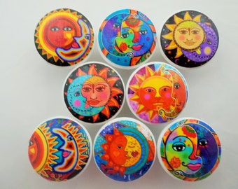 Set of 8 Bright Sun and Moon Cabinet Knobs