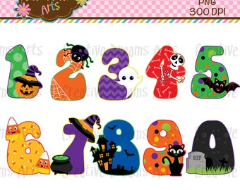 40% Off! Halloween Numbers Clipart Instant Download