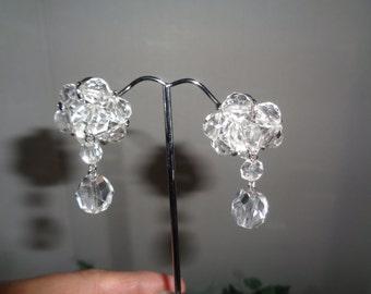 Kramer Signed Crystal Dangle Clip on Earrings Bride Wedding Bridesmaid jewelrybybadabling