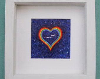 Heart Print, Anniversary Gift, Rainbow Heart Birds, Love Gift, Wedding Gift, Framed Heart Print, Bird Stars Heart, Engagement Gift Spiritual