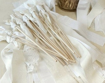 100 Regency Wedding Wands, Jane Austen Inspired Party Favors, Edwardian Style Fabric Streamers, Romantic Victorian Bride & Groom Send Off