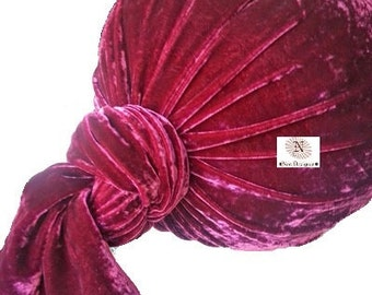 Luxury Velvet Silk Blend Bolster Neck Roll Pillow Cover with Tied Ends
