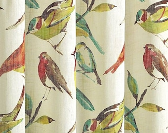 """INDOOR 1 Pair Custom Either Flat Rod Pocket OR Grommet Curtain Panel Drapes in Designer Richloom Birdwatcher fabric 50""""W x Selected Length"""
