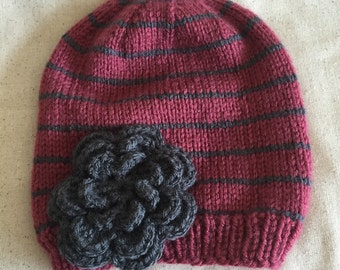 Toddler Knit Flower Slouchy Beanie