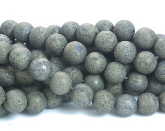 matter pyrite round beads - frosty polished gold pyrite gemstones - pyrite beading supplies - matte round beads - 4-14mm beads - 15inch