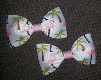Flamingos Palm Trees Handmade Pigtail Bow Set 3 inches
