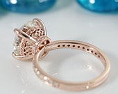 8mm or 2 Ct. Charles & Colvard Forever Brillaint Round Moissanite Center and Diamond Halo Filigree Basket and Shoulders Ring
