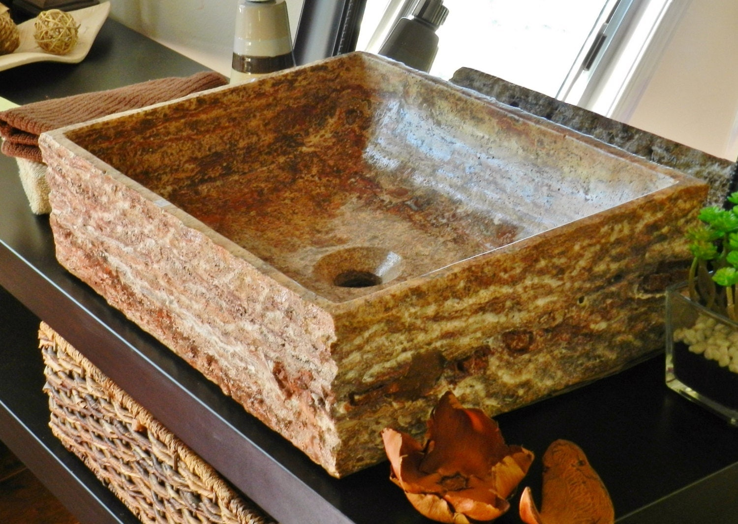 natural stone bathroom sinks rectangle vessel sink travertine marble 19710