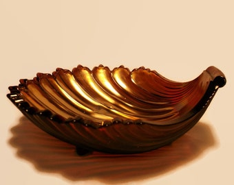 Red Carnival Glass Shell Dish