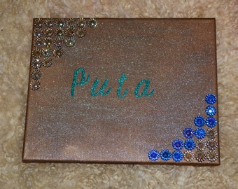 Puta canvas sequinned wall picture