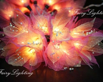 Fairy String Lights - 20 Pink Tone  Flower String Lights Fairy Lights Wedding Party Floral Home Decoration