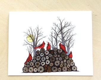Cardinals on the woodpile greeting card 4.25x5.5 blank inside