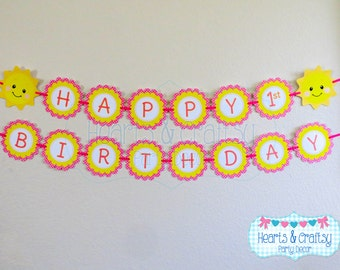 You Are My Sunshine Birthday Banner / Sunshine Birthday Party Happy Birthday Banner - FILE to PRINT DIY