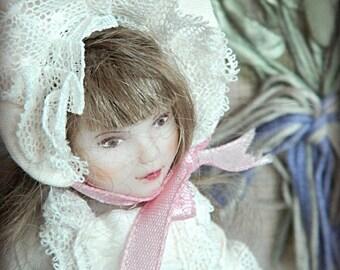 "Art doll OOAK Toy Retro White with Rabbit ""Sonya"""