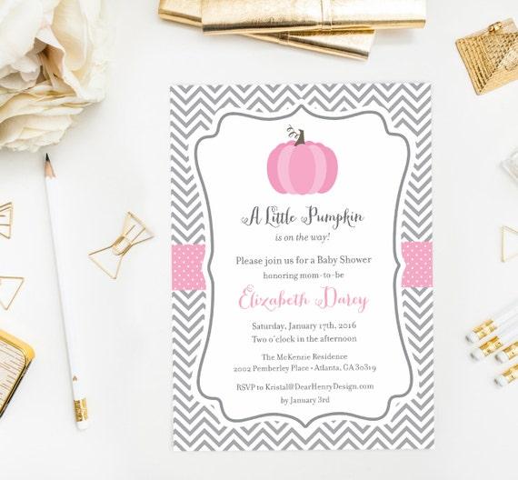 pink pumpkin baby shower invitation little fall baby shower invite