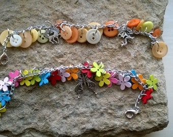 Button and charm bracelets, your choice of colours