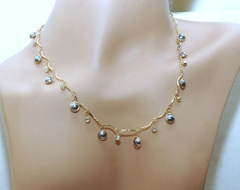 Gray Pearl Necklace and Bracelet Set, Gold Necklace set, Pearl Bracelet, Crystal Bracelet and Necklace, Black Friday - Cyber Monday Sale