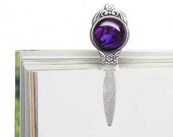 Purple Paua Cabochon Bookmark, New Zealand Paua Shell, Violet, Small, Gift, Antiqued Silver Bookmark, Low Shipping