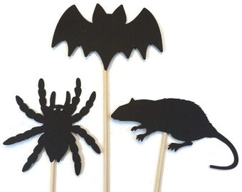 Halloween Photo Booth Props- Bat, Rat, Spider Photo Booth Props