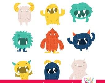 Happy Fun Cartoon Cute Furry Monsters PNG Set / Digital Clipart - Instant Download