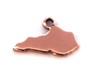 2x Rose Gold Plated Blank Kentucky State Charms - M132-KY
