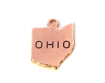 2x Rose Gold Plated Engraved Ohio State Charms - M131-OH