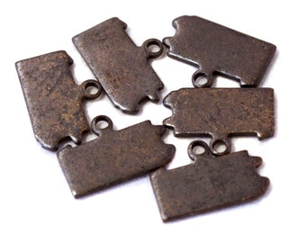 6x Antique Brass / Brown Patina Blank Pennsylvania State Charms - M073/AB-PA