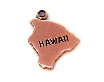2x Rose Gold Plated Engraved Hawaii State Charms - M131-HI