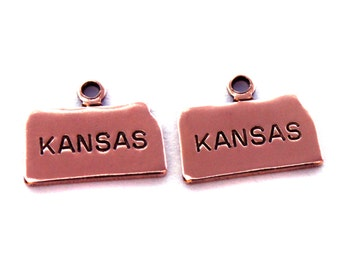 2x Rose Gold Plated Engraved Kansas State Charms - M131-KS