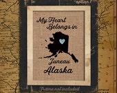 Alaska Personalized State Burlap Print | Housewarming Gift | Latitude | Longitude | GPS | USA | Family Name | USA_002