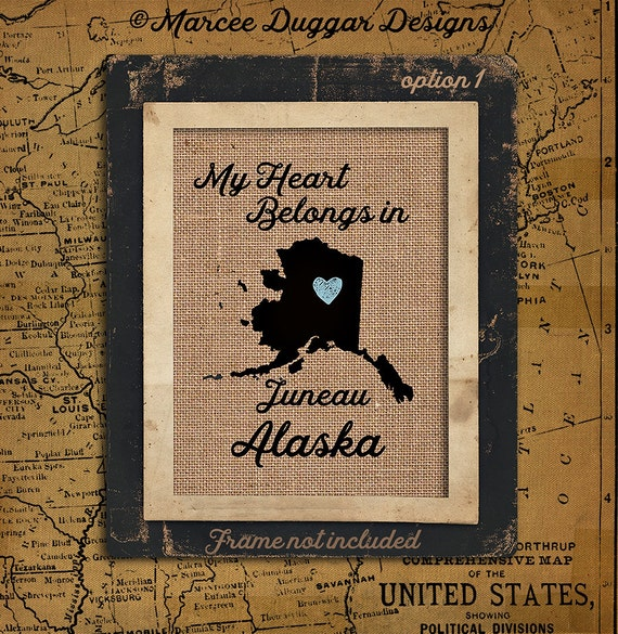 Alaska Personalized State Burlap Print | Housewarming Gift | Latitude | Longitude | GPS | USA | Family Name | USA_002