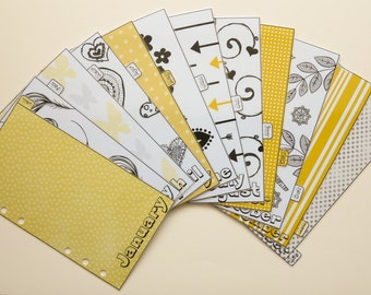 Personal size monthly dividers Jan-Dec Yellow + Black theme