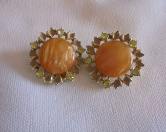 Vintage Amber Color Rhinestone Clip On Earrings