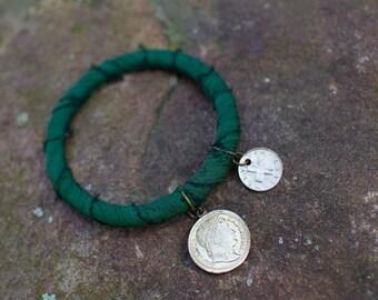 Shabby Chic Green Sari Silk Bangle with Coin Charms