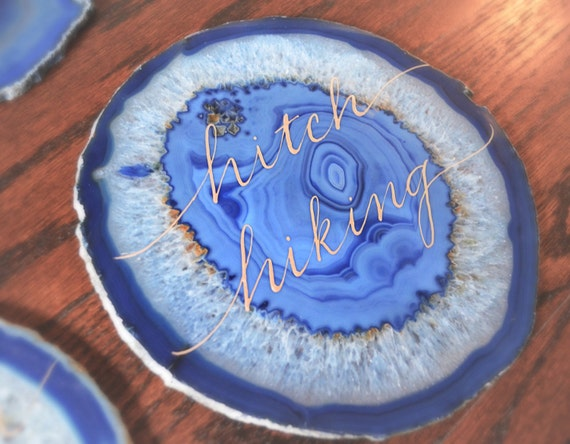 Gorgeous calligraphied agate stone place cards