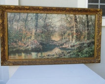 "Vintage,Large,52""x30"",country print,signed,wooded trees,forest,stream,creek,Framed,ornate frame,gold,filigree,frame,carved,syroco,wood,frame"