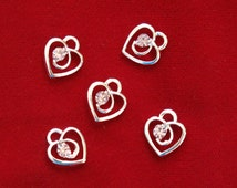"""BULK! 30pc """"heart"""" charms in antique silver style (BC788B)"""