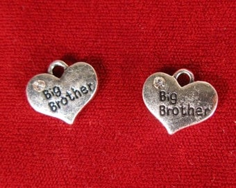 "BULK! 15pc ""Big brother"" charms in antique silver style (BC1061B)"