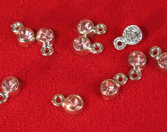 """BULK! 50pc 5mm """"opal rose"""" color charms in antique silver style (BC1113B)"""