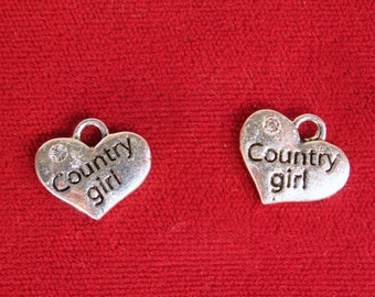 """BULK! 15pc """"Country girl"""" charms in antique silver style (BC1122B)"""