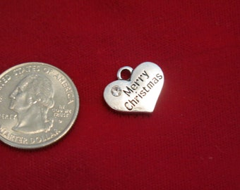 """15pc """"Merry Christmas"""" charms in antique silver style (BC782B)"""
