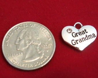 """15pc """"Great grandma"""" charms in antique silver style (BC785B)"""