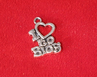 "BULK! 15pc ""I love to blog"" charms in antique silver style (BC864B)"