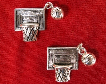 "BULK! 15pc ""Basketball"" charms in silver style (BC994B)"