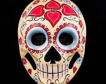 Day of the Dead Wedding - Love/Heart Themed Masquerade Mask, Day of the Dead Mask, Dia de los Muertos Mask, Masquerade Mask