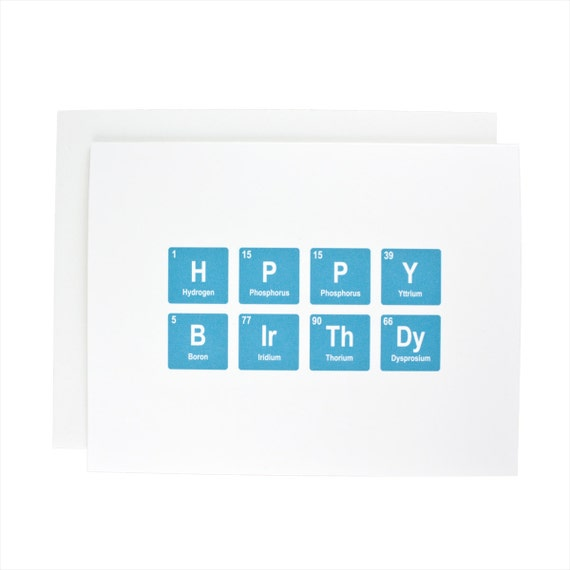 Happy Birthday greeting card, periodic table, chemistry, geeky, birthday, bday, teal, blue