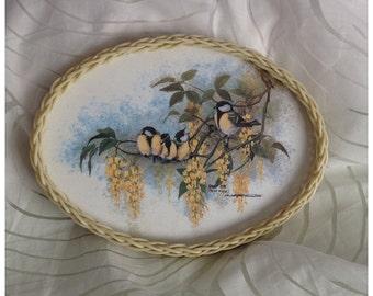 SALE! Vintage SMIT UK Melamine & Basket Weave Oval Tray, Great Tits (parus major) by Christopher Scales